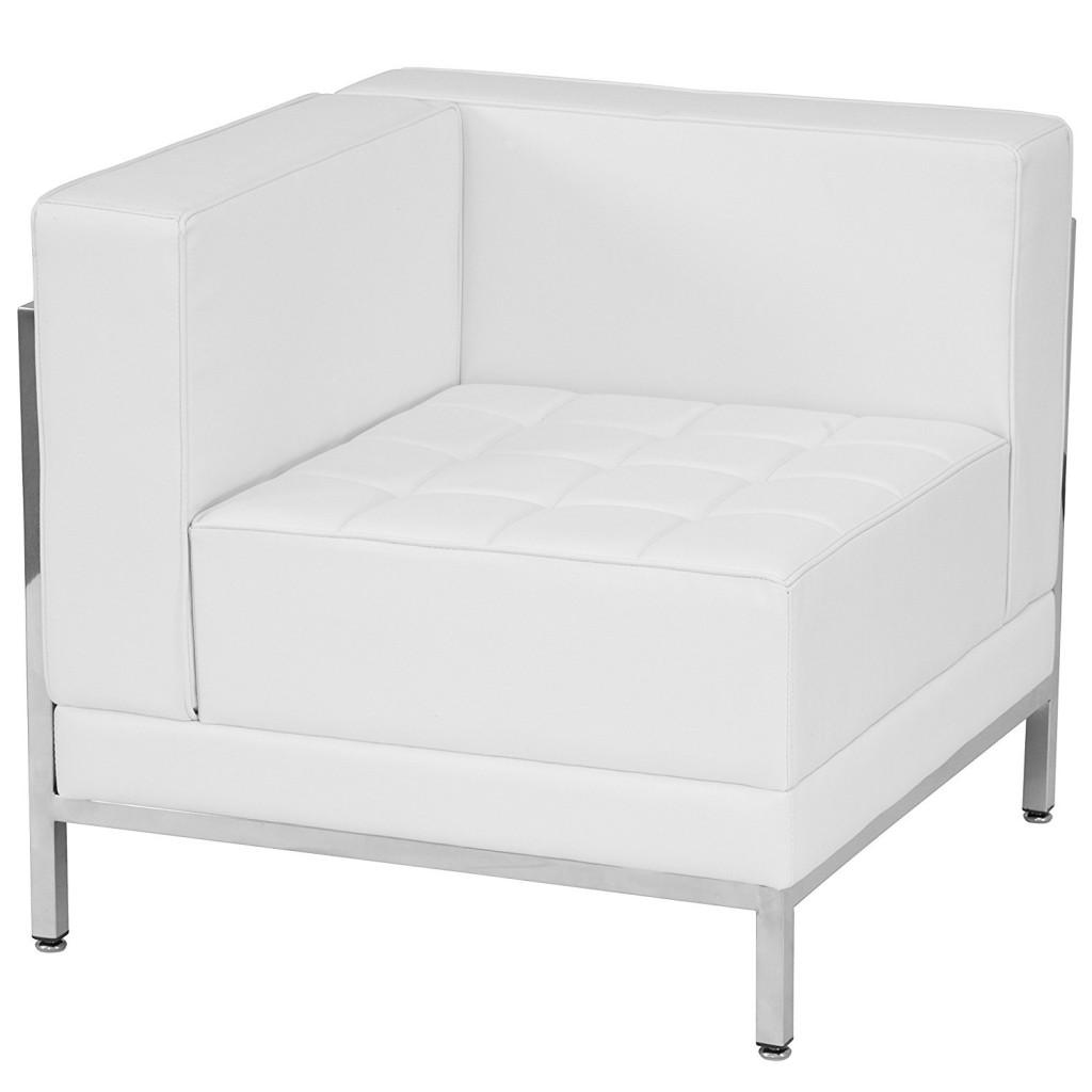 Flash Furniture HERCULES Imagination Series Contemporary Melrose White Leather Left Corner Chair