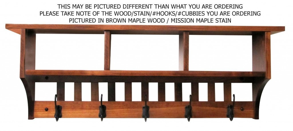 Mission Cubby Coat Rack Shelf Wall Mounted