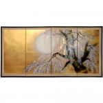 Oriental Furniture 36 Gold Leaf Sakura Blossom