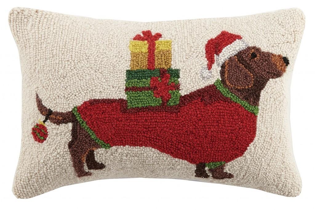 Peking Handicraft Christmas Dachshund Hook In Presents Wool Lumbar Pillow