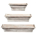 Rustic Torched Wood Wall Mounted Display Floating Shelves