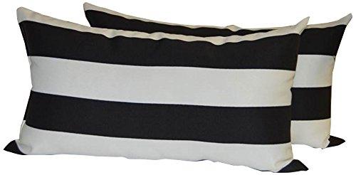 Set Of 2 Indoor Outdoor Decorative Lumbar Rectangle Pillows