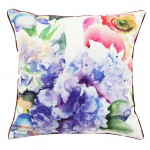 Square Floral Printed Stuffed Cushion ChezMax Linen Stuffing Throw Pillow