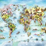 10.5 Feet Wide By 8 Feet High.Prepasted Robust Wallpaper Mural From A Photo Of Fun World Map