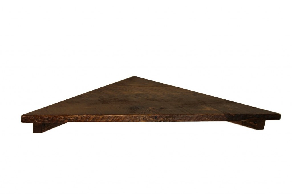 36 Rustic, Floating Wood Corner Shelf
