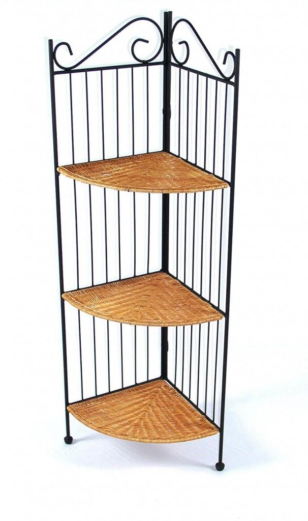 4D Concepts 3 Tier Corner Bookcase, Wicker Metal