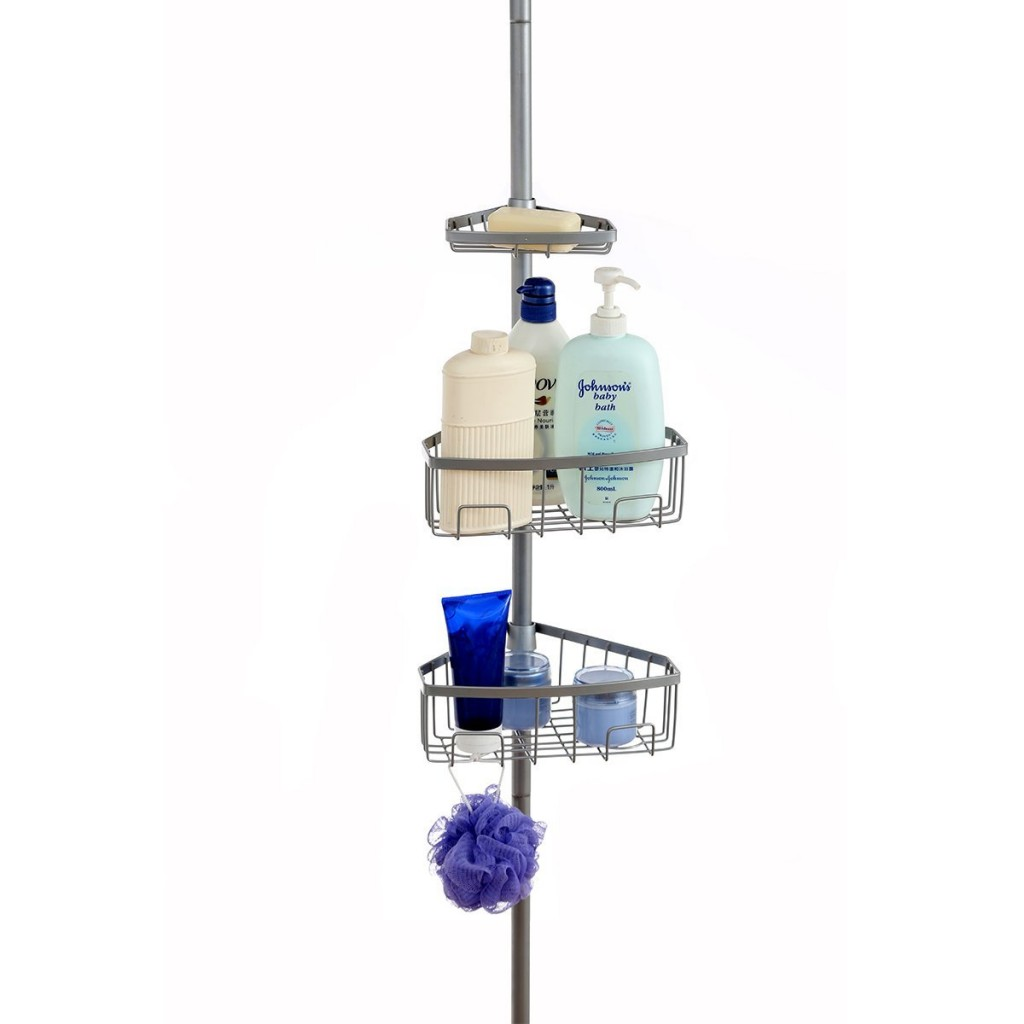 Corner Pole Caddy, Creatwo 3 Tier Carbon Steel Conner Shower Caddy Shelf Units