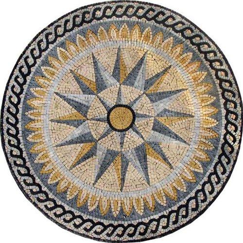Designed Medallion Marble Mosaic Stone Art Tiles Hand Made Wall Floor Decor