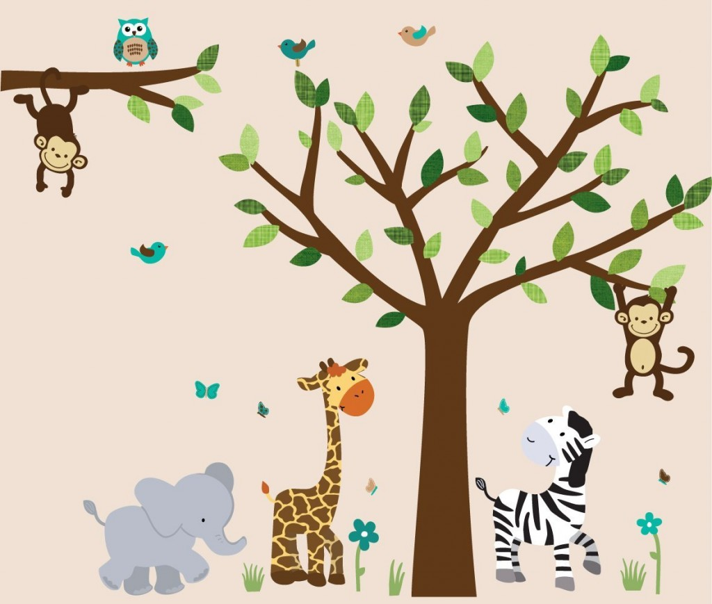 Safari Evergreen Jungle Tree Wall Decals