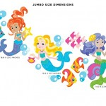 Sunny Decals Mermaid Fabric Wall Decals