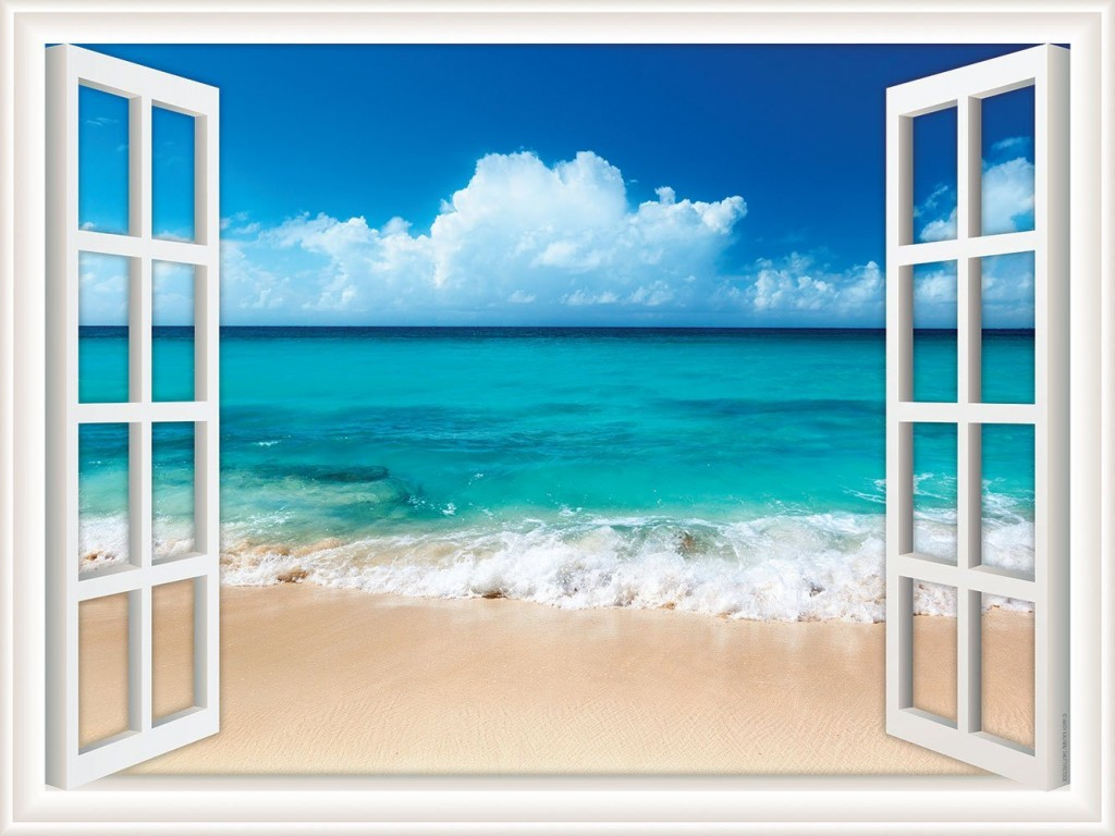 Walls 360 Peel & Stick Wall Decal Window Views Ocean Beach