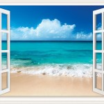 Walls 360 Peel & Stick Wall Decal Window Views Ocean Beach